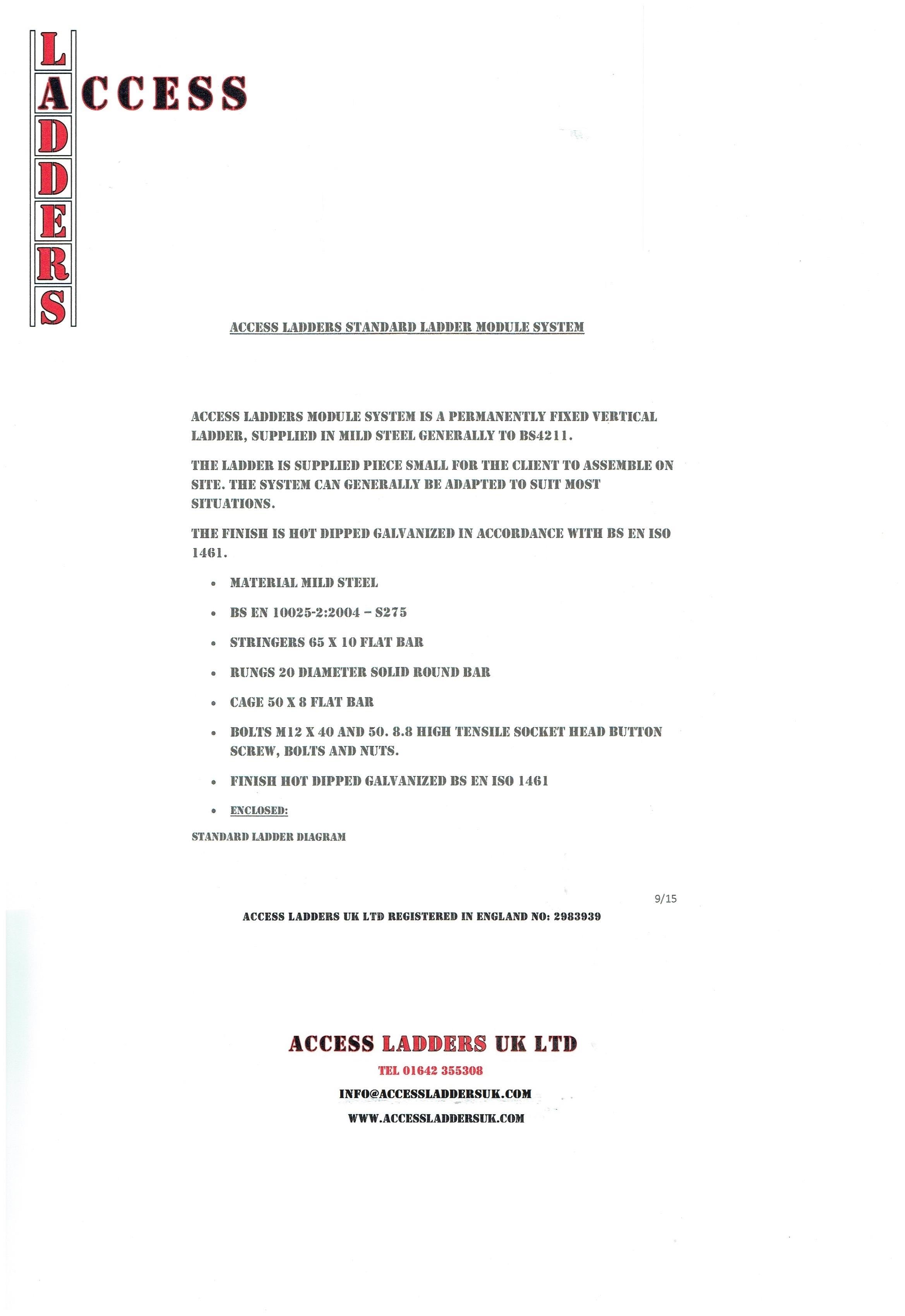 Standard Ladder Data Sheet